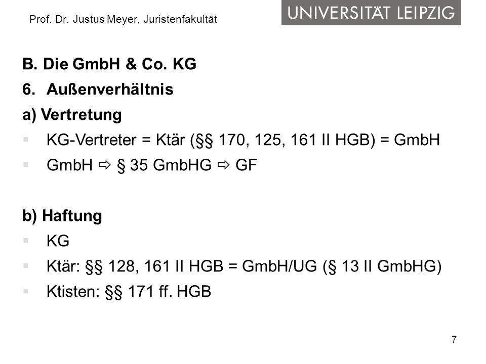 7 Prof. Dr. Justus Meyer, Juristenfakultät B. Die GmbH & Co. KG 6.Außenverhältnis a) Vertretung KG-Vertreter = Ktär (§§ 170, 125, 161 II HGB) = GmbH G