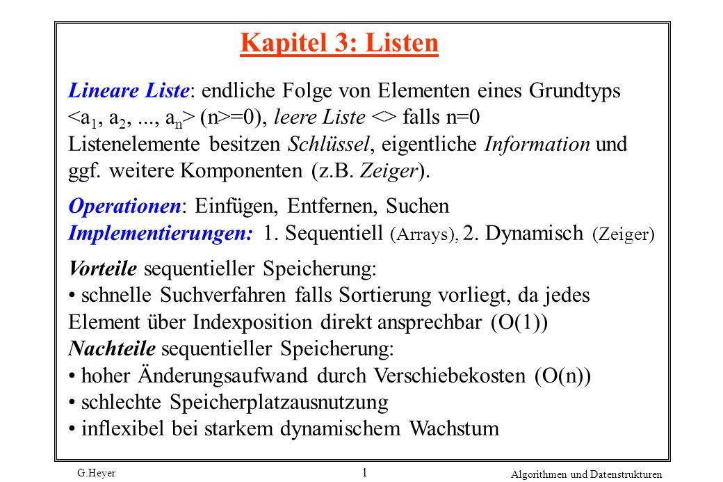 G.Heyer Algorithmen und Datenstrukturen 1 Kapitel 3: Listen Lineare Liste: endliche Folge von Elementen eines Grundtyps (n>=0), leere Liste <> falls n