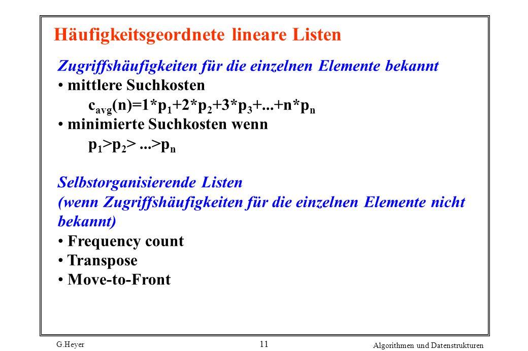 G.Heyer Algorithmen und Datenstrukturen 11 Häufigkeitsgeordnete lineare Listen Zugriffshäufigkeiten für die einzelnen Elemente bekannt mittlere Suchko