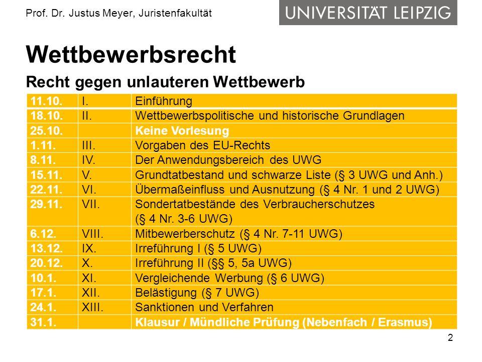 2 Prof. Dr. Justus Meyer, Juristenfakultät Wettbewerbsrecht Recht gegen unlauteren Wettbewerb 11.10.I.Einführung 18.10.II.Wettbewerbspolitische und hi