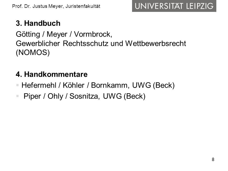 8 Prof. Dr. Justus Meyer, Juristenfakultät 3. Handbuch Götting / Meyer / Vormbrock, Gewerblicher Rechtsschutz und Wettbewerbsrecht (NOMOS) 4. Handkomm