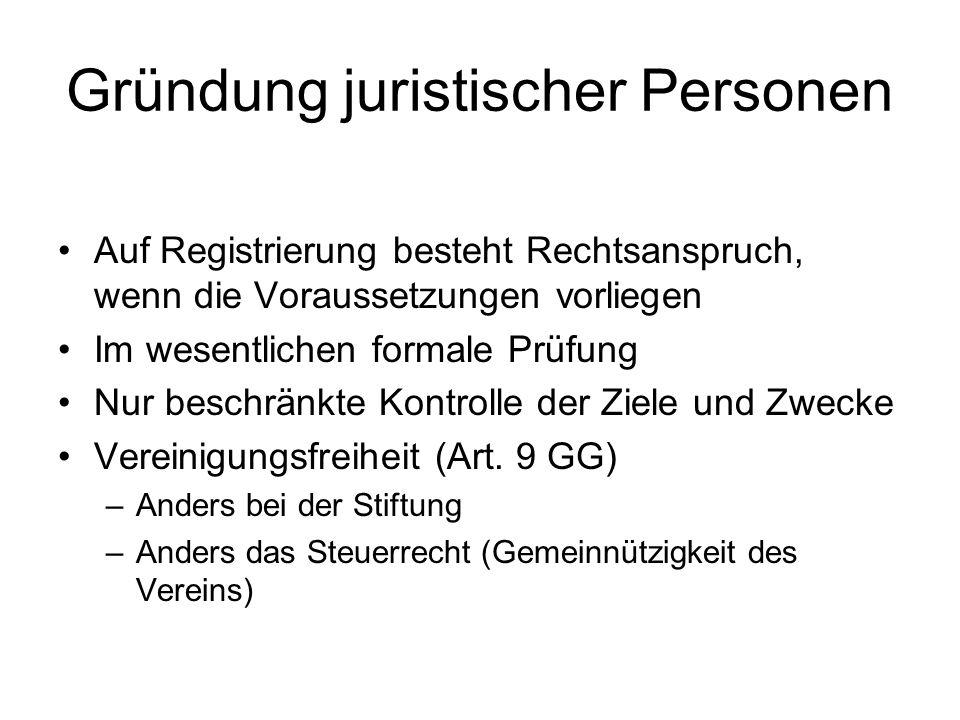 Gründung juristischer Personen Auf Registrierung besteht Rechtsanspruch, wenn die Voraussetzungen vorliegen Im wesentlichen formale Prüfung Nur beschr