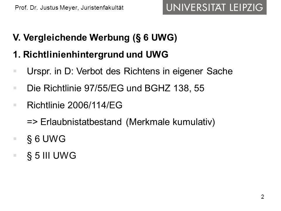 2 Prof. Dr. Justus Meyer, Juristenfakultät V. Vergleichende Werbung (§ 6 UWG) 1. Richtlinienhintergrund und UWG Urspr. in D: Verbot des Richtens in ei