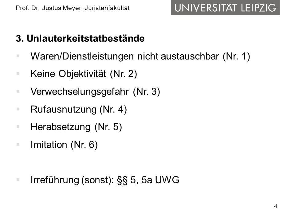 4 Prof. Dr. Justus Meyer, Juristenfakultät 3. Unlauterkeitstatbestände Waren/Dienstleistungen nicht austauschbar (Nr. 1) Keine Objektivität (Nr. 2) Ve