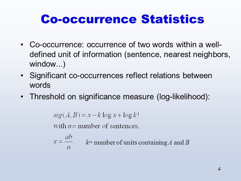 5 Trans-co-occurrences Translingual co-occurrences normal co-occurrences: Calculaton performed on sentence basis Co-occurrents can be found frequently together in sentences Trans-co-occurrences: Calculaton performed on bilingual sentence pairs Co-occurrents can be found frequently together in bilingual sentence pairs Hypothesis: significant co-occurrences between words of different languages (= trans-co-occurrences) are translation equivalents