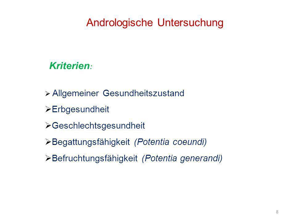8 Andrologische Untersuchung Kriterien : Allgemeiner Gesundheitszustand Erbgesundheit Geschlechtsgesundheit Begattungsfähigkeit (Potentia coeundi) Bef