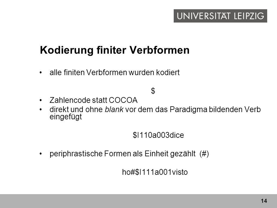 14 Kodierung finiter Verbformen alle finiten Verbformen wurden kodiert $ Zahlencode statt COCOA direkt und ohne blank vor dem das Paradigma bildenden