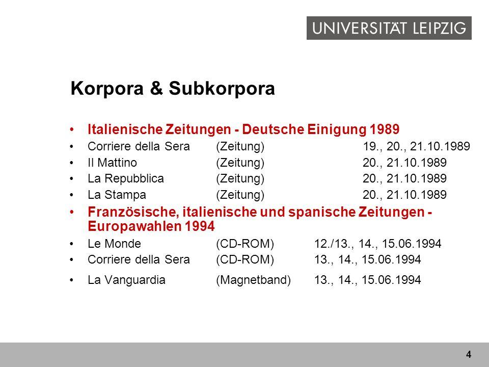 4 Korpora & Subkorpora Italienische Zeitungen - Deutsche Einigung 1989 Corriere della Sera(Zeitung)19., 20., 21.10.1989 Il Mattino(Zeitung)20., 21.10.1989 La Repubblica(Zeitung)20., 21.10.1989 La Stampa(Zeitung)20., 21.10.1989 Französische, italienische und spanische Zeitungen - Europawahlen 1994 Le Monde(CD-ROM)12./13., 14., 15.06.1994 Corriere della Sera(CD-ROM)13., 14., 15.06.1994 La Vanguardia (Magnetband)13., 14., 15.06.1994