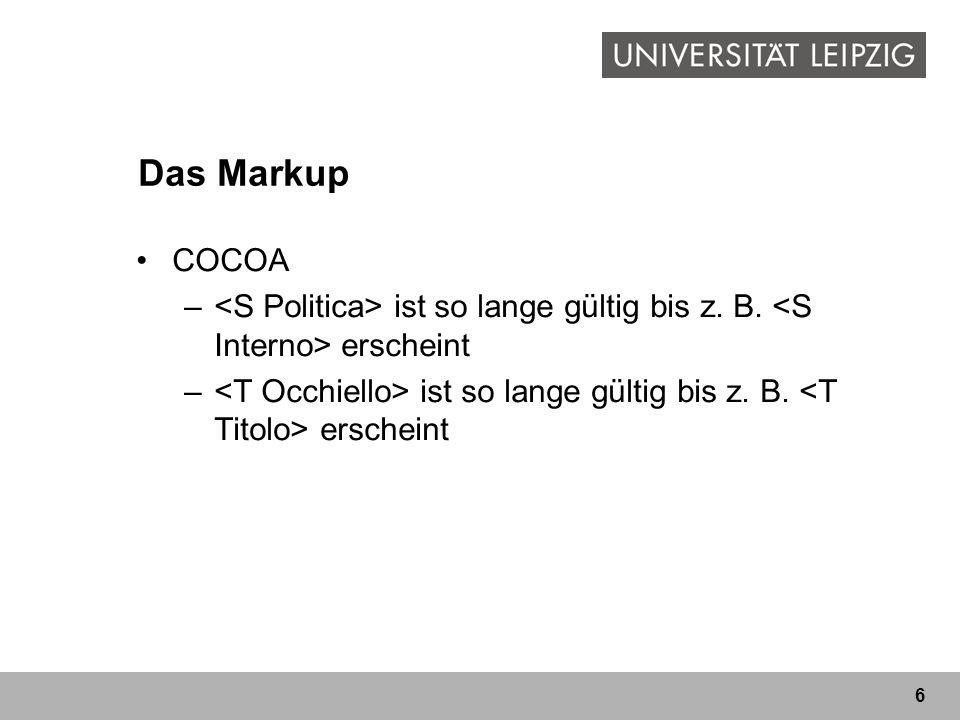6 Das Markup COCOA – ist so lange gültig bis z. B. erscheint