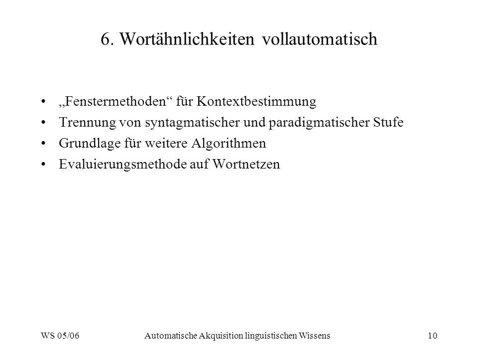 WS 05/06Automatische Akquisition linguistischen Wissens10 6.