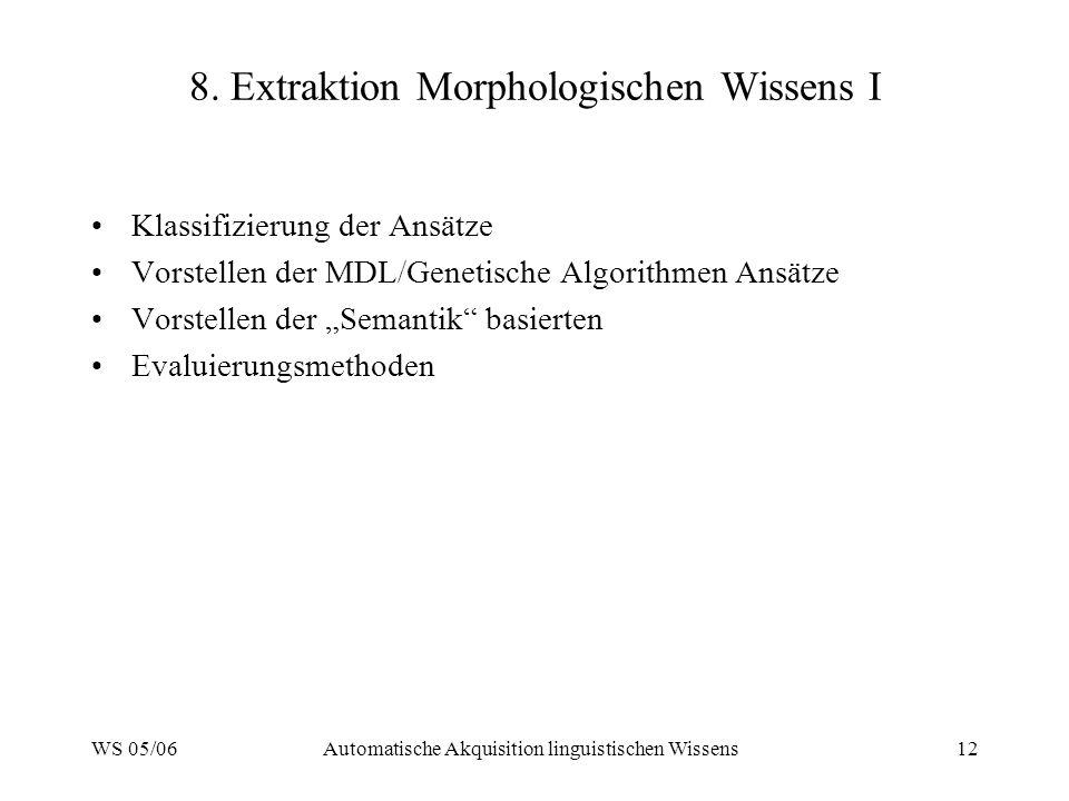 WS 05/06Automatische Akquisition linguistischen Wissens12 8.