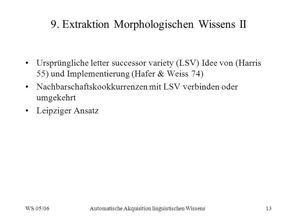 WS 05/06Automatische Akquisition linguistischen Wissens13 9.