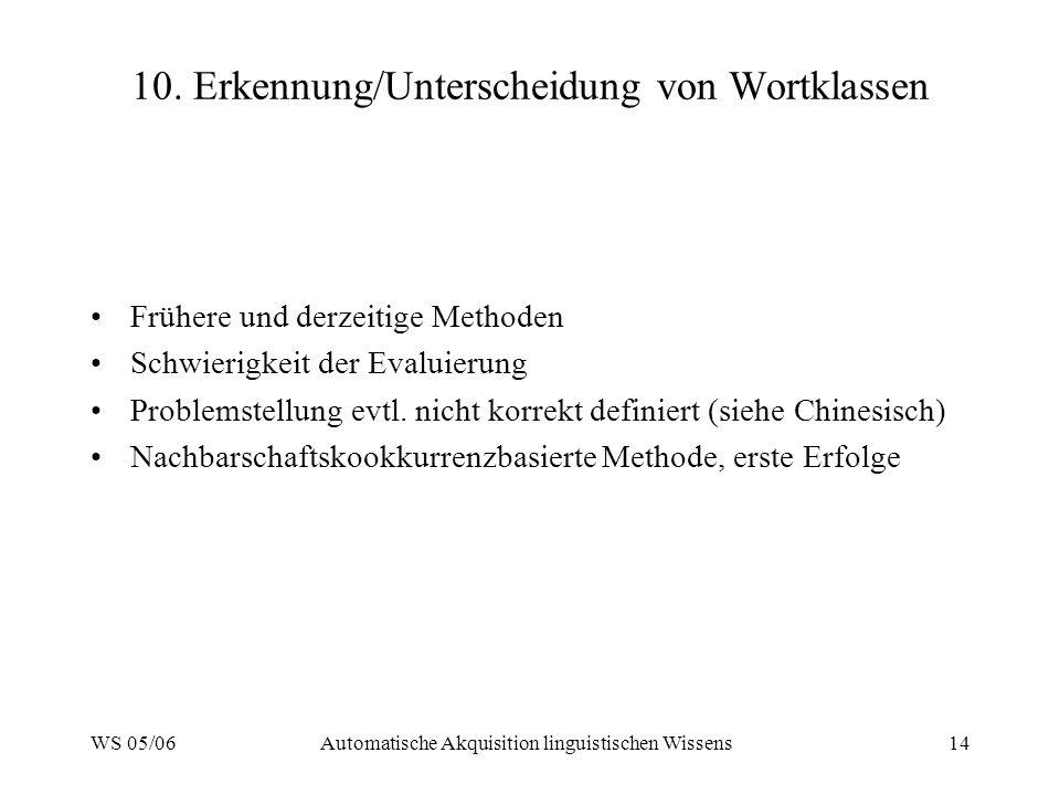 WS 05/06Automatische Akquisition linguistischen Wissens14 10.