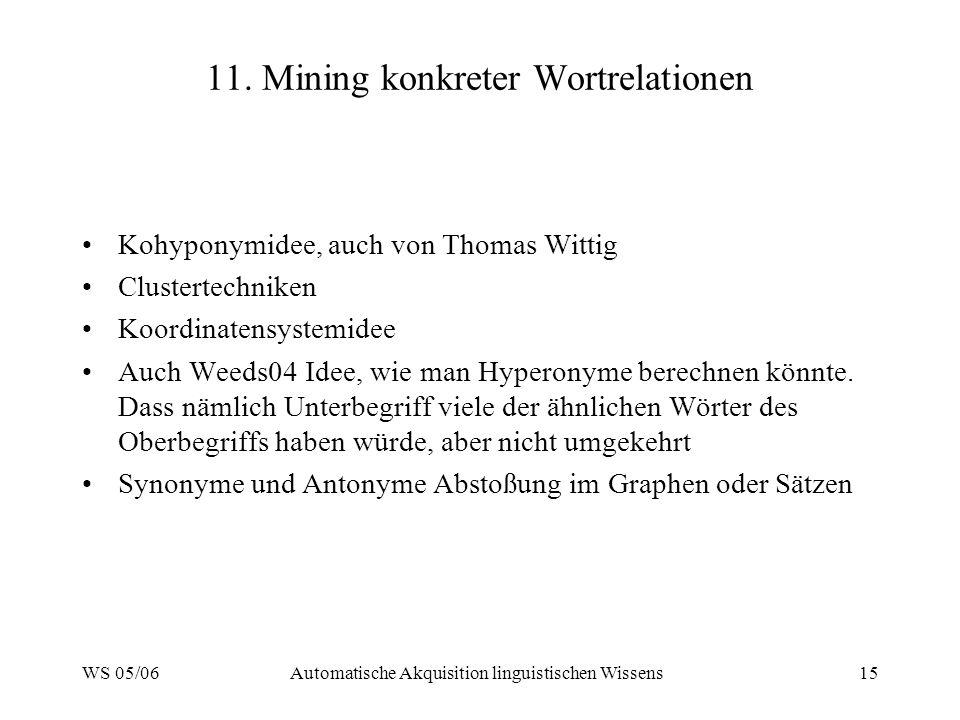 WS 05/06Automatische Akquisition linguistischen Wissens15 11.