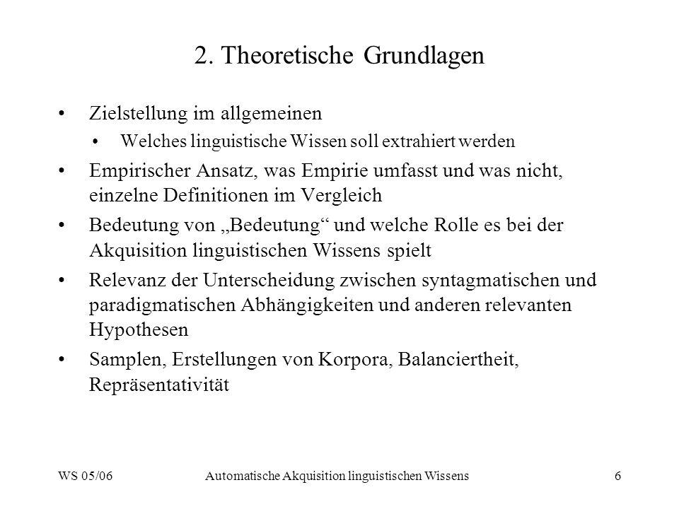 WS 05/06Automatische Akquisition linguistischen Wissens6 2.