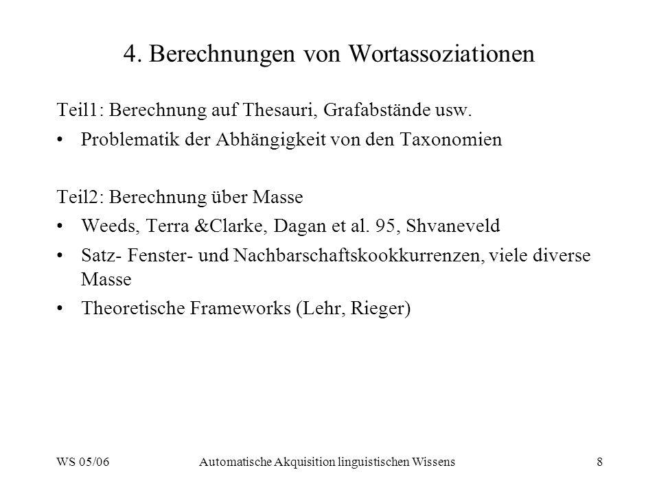 WS 05/06Automatische Akquisition linguistischen Wissens8 4.