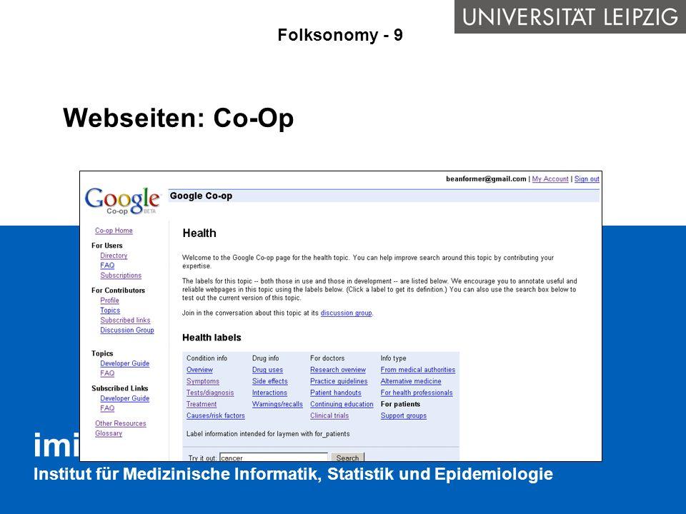 Institut für Medizinische Informatik, Statistik und Epidemiologie Webseiten: Co-Op Folksonomy - 9