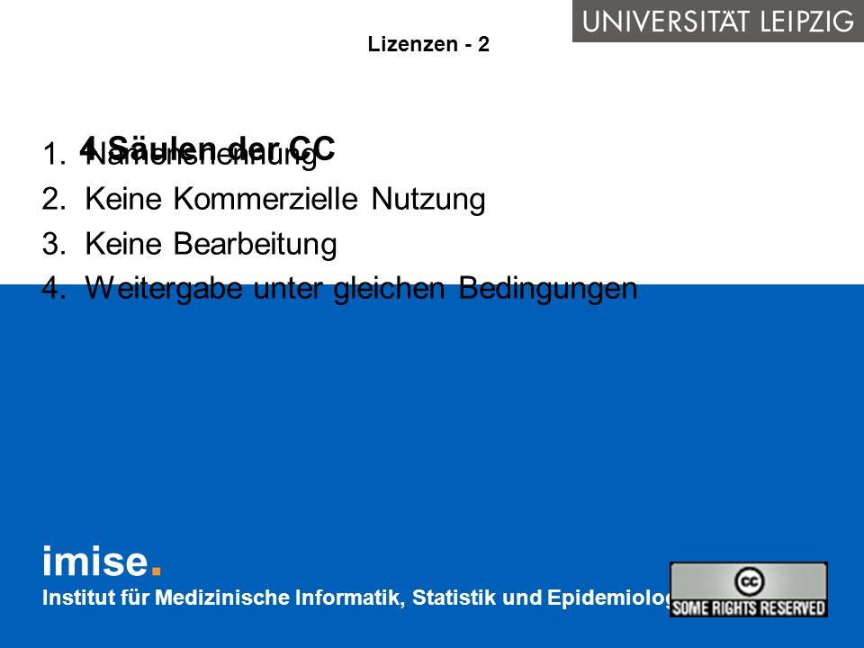 Institut für Medizinische Informatik, Statistik und Epidemiologie 4 Säulen der CC 1.Namensnennung 2.Keine Kommerzielle Nutzung 3.Keine Bearbeitung 4.W