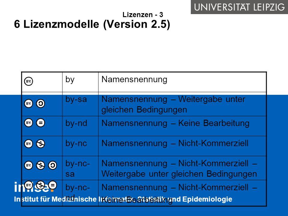 Institut für Medizinische Informatik, Statistik und Epidemiologie 6 Lizenzmodelle (Version 2.5) Lizenzen - 3 byNamensnennung by-saNamensnennung – Weit