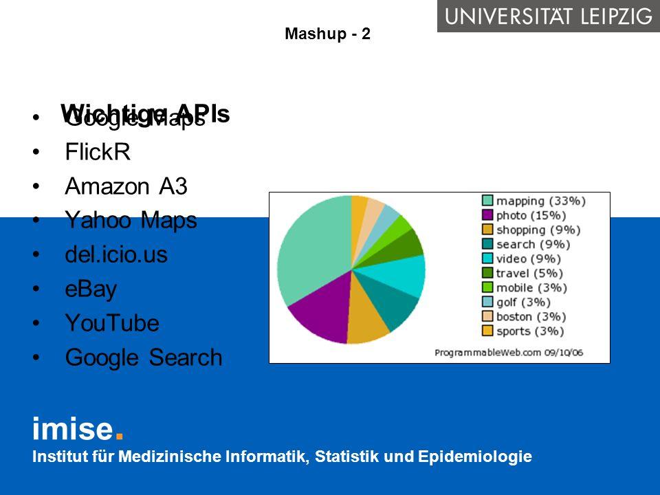 Institut für Medizinische Informatik, Statistik und Epidemiologie Wichtige APIs Mashup - 2 Google Maps FlickR Amazon A3 Yahoo Maps del.icio.us eBay Yo