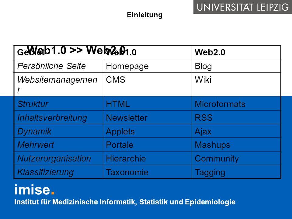 Institut für Medizinische Informatik, Statistik und Epidemiologie Zusammenfassung Aktuelle Anwendungsgebiete des Semantic Web RSS für Nachrichten-Schlagzeilen FOAF als Visitenkarte GRDDL, Microformats und RDF/A für semantisches Markup von Webdokumenten Im medizinischen Umfeld ist die Nutzung des Semantic Webs für Studienregister, SOPs oder Wörterbücher vorstellbar Neue Anwendungsfälle benötigen nur ein wenig Phantasie – und der sind keine Grenzen gesetzt!