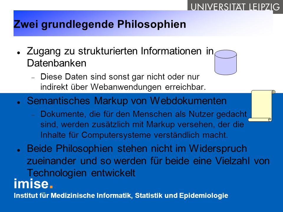 Institut für Medizinische Informatik, Statistik und Epidemiologie Zwei grundlegende Philosophien Zugang zu strukturierten Informationen in Datenbanken