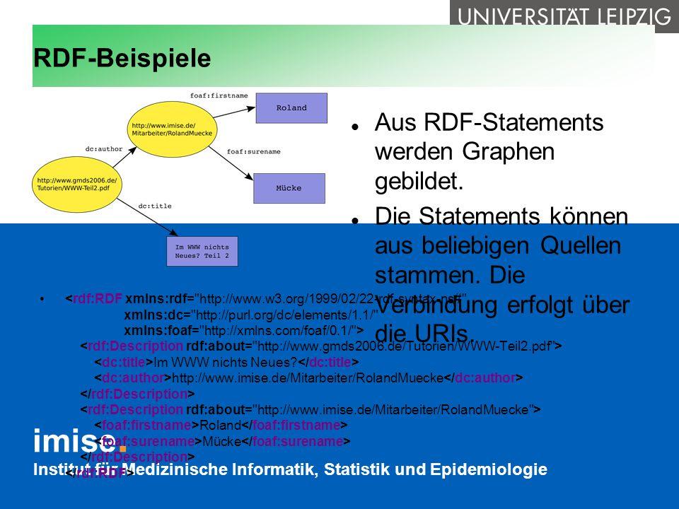 Institut für Medizinische Informatik, Statistik und Epidemiologie RDF-Beispiele Aus RDF-Statements werden Graphen gebildet. Die Statements können aus