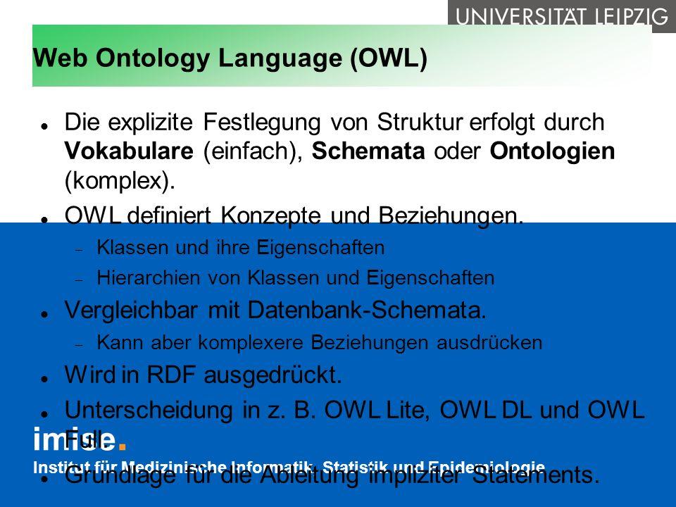 Institut für Medizinische Informatik, Statistik und Epidemiologie Web Ontology Language (OWL) Die explizite Festlegung von Struktur erfolgt durch Voka