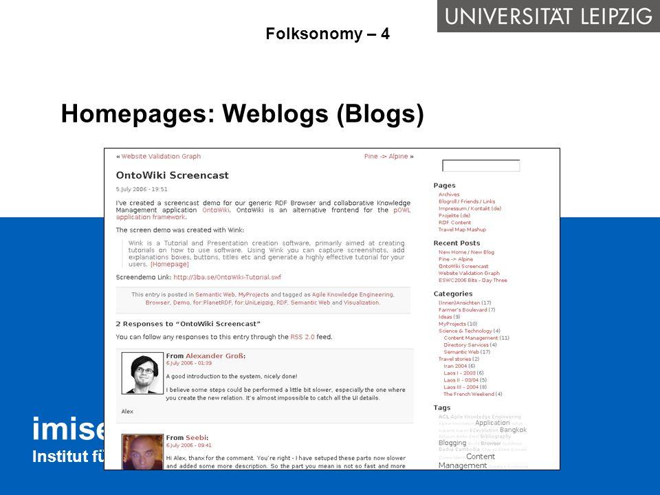 Institut für Medizinische Informatik, Statistik und Epidemiologie Suchmaschinen: Technorati Folksonomy - 5
