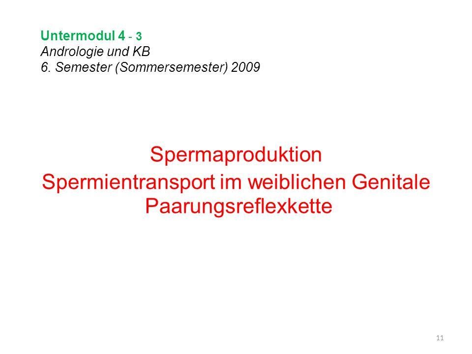 Untermodul 4 - 3 Andrologie und KB 6. Semester (Sommersemester) 2009 Spermaproduktion Spermientransport im weiblichen Genitale Paarungsreflexkette 11