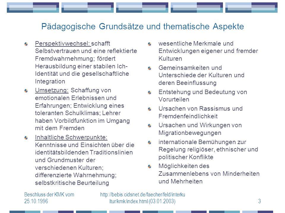 Beschluss der KMK vom 25.10.1996 http://bebis.cidsnet.de/faecher/feld/interku ltur/kmk/index.html (03.01.2003)3 Pädagogische Grundsätze und thematische Aspekte Perspektivwechsel: schafft Selbstvertrauen und eine reflektierte Fremdwahrnehmung; fördert Herausbildung einer stabilen Ich- Identität und die gesellschaftliche Integration Umsetzung: Schaffung von emotionalen Erlebnissen und Erfahrungen; Entwicklung eines toleranten Schulklimas; Lehrer haben Vorbildfunktion im Umgang mit dem Fremden Inhaltliche Schwerpunkte: Kenntnisse und Einsichten über die identitätsbildenden Traditionslinien und Grundmuster der verschiedenen Kulturen; differenzierte Wahrnehmung; selbstkritische Beurteilung wesentliche Merkmale und Entwicklungen eigener und fremder Kulturen Gemeinsamkeiten und Unterschiede der Kulturen und deren Beeinflussung Entstehung und Bedeutung von Vorurteilen Ursachen von Rassismus und Fremdenfeindlichkeit Ursachen und Wirkungen von Migrationbewegungen internationale Bemühungen zur Regelung religiöser, ethnischer und politischer Konflikte Möglichkeiten des Zusammenlebens von Minderheiten und Mehrheiten
