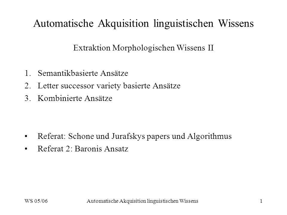 WS 05/06Automatische Akquisition linguistischen Wissens1 Extraktion Morphologischen Wissens II 1.Semantikbasierte Ansätze 2.Letter successor variety b