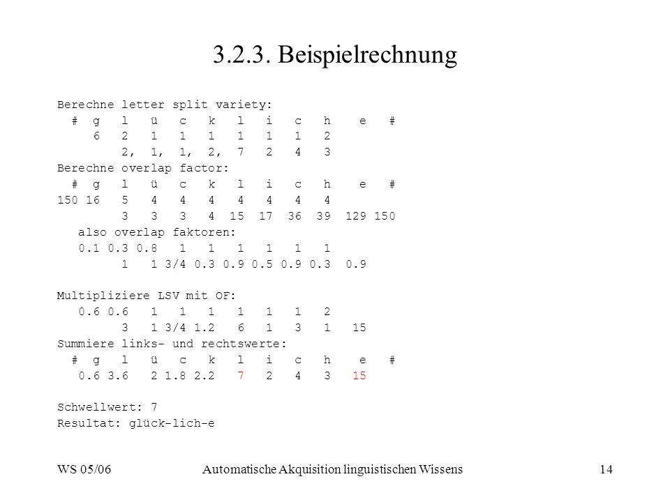 WS 05/06Automatische Akquisition linguistischen Wissens14 3.2.3. Beispielrechnung Berechne letter split variety: # g l ü c k l i c h e # 6 2 1 1 1 1 1