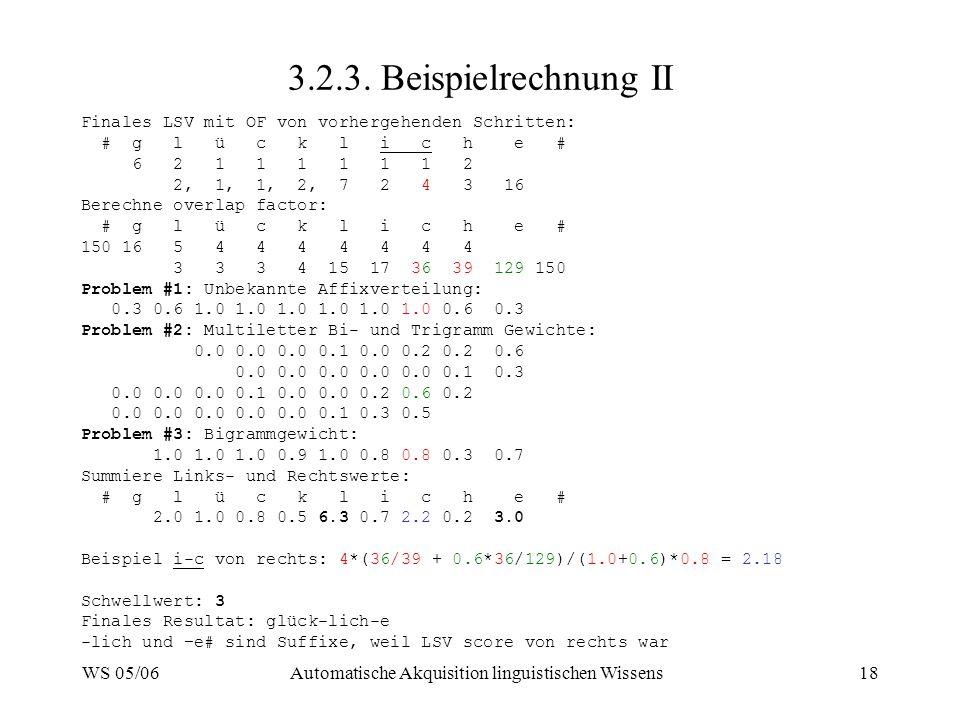 WS 05/06Automatische Akquisition linguistischen Wissens18 3.2.3. Beispielrechnung II Finales LSV mit OF von vorhergehenden Schritten: # g l ü c k l i