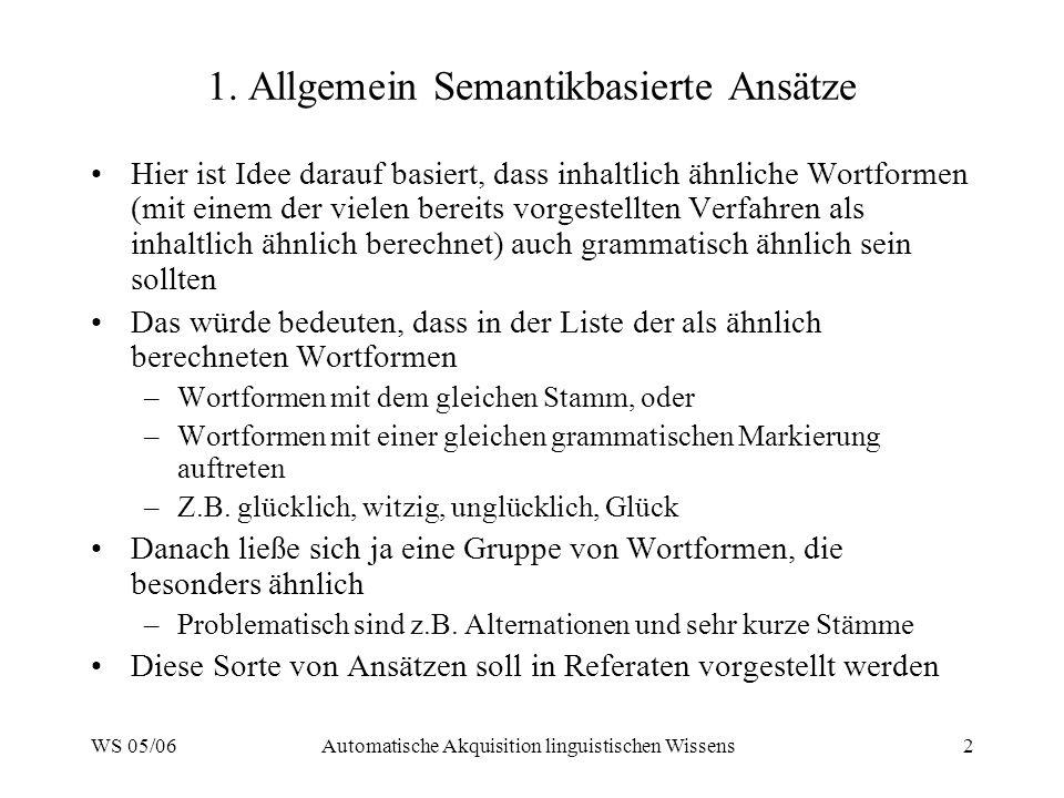 WS 05/06Automatische Akquisition linguistischen Wissens2 1. Allgemein Semantikbasierte Ansätze Hier ist Idee darauf basiert, dass inhaltlich ähnliche