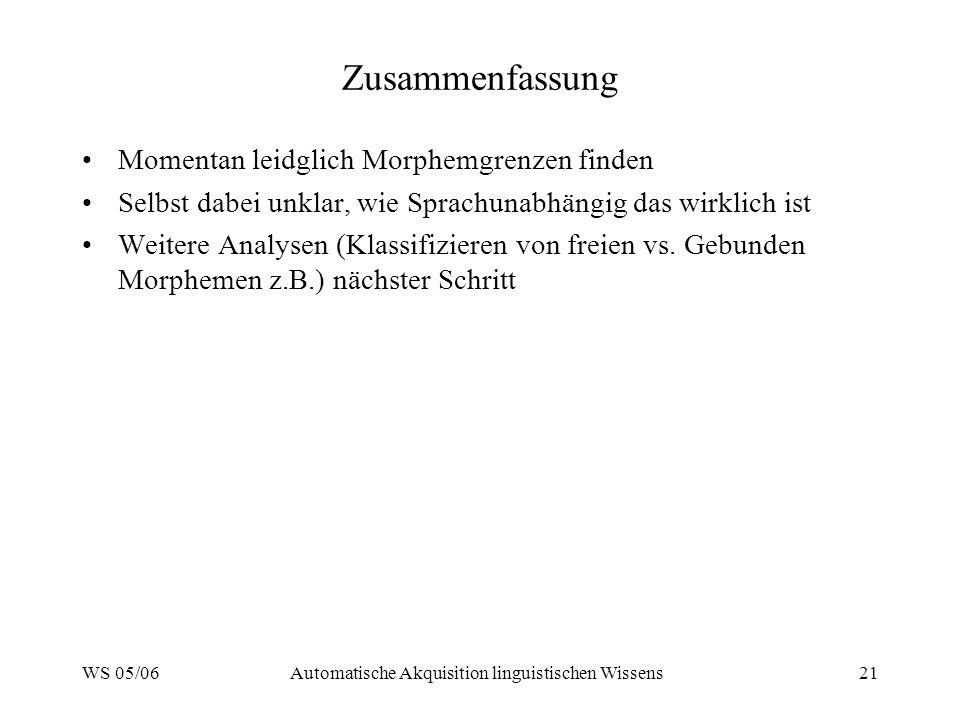 WS 05/06Automatische Akquisition linguistischen Wissens21 Zusammenfassung Momentan leidglich Morphemgrenzen finden Selbst dabei unklar, wie Sprachunab
