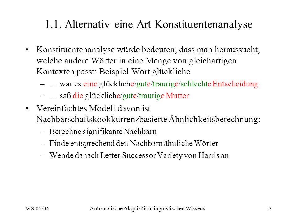 WS 05/06Automatische Akquisition linguistischen Wissens3 1.1. Alternativ eine Art Konstituentenanalyse Konstituentenanalyse würde bedeuten, dass man h