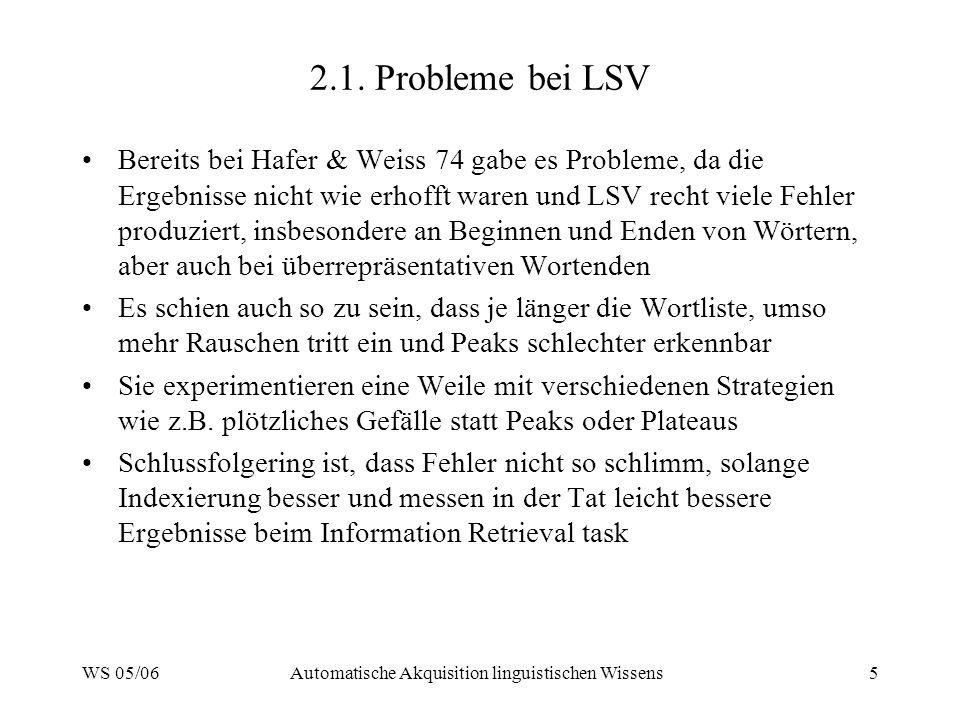 WS 05/06Automatische Akquisition linguistischen Wissens5 2.1. Probleme bei LSV Bereits bei Hafer & Weiss 74 gabe es Probleme, da die Ergebnisse nicht