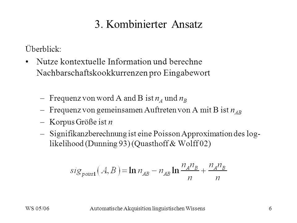 WS 05/06Automatische Akquisition linguistischen Wissens6 3. Kombinierter Ansatz Überblick: Nutze kontextuelle Information und berechne Nachbarschaftsk