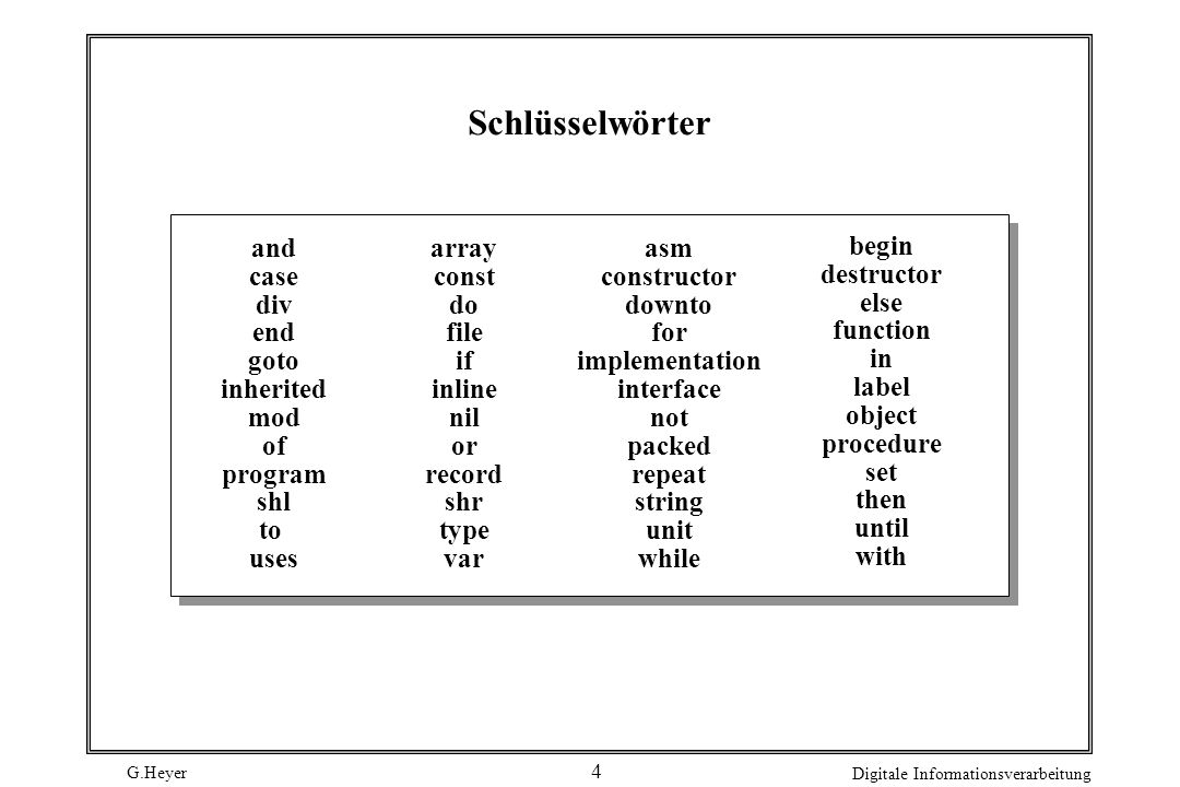G.Heyer Digitale Informationsverarbeitung 4 Schlüsselwörter and case div end goto inherited mod of program shl to uses array const do file if inline nil or record shr type var asm constructor downto for implementation interface not packed repeat string unit while begin destructor else function in label object procedure set then until with