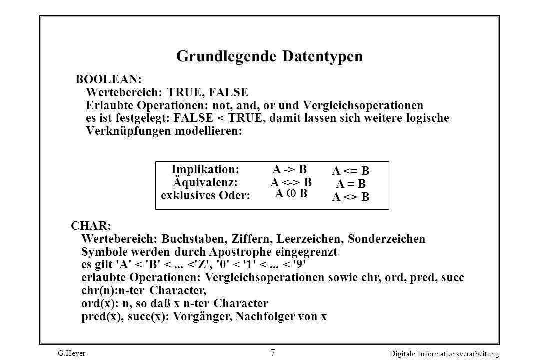 G.Heyer Digitale Informationsverarbeitung 7 Grundlegende Datentypen BOOLEAN: Wertebereich: TRUE, FALSE Erlaubte Operationen: not, and, or und Vergleichsoperationen es ist festgelegt: FALSE < TRUE, damit lassen sich weitere logische Verknüpfungen modellieren: A -> B A B A <= B A = B A <> B Implikation: Äquivalenz: exklusives Oder: A B CHAR: Wertebereich: Buchstaben, Ziffern, Leerzeichen, Sonderzeichen Symbole werden durch Apostrophe eingegrenzt es gilt A < B <...