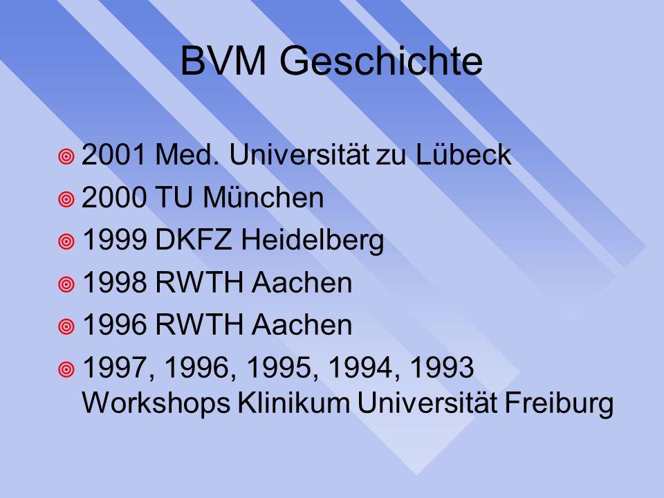 BVM Geschichte 2001 Med. Universität zu Lübeck 2000 TU München 1999 DKFZ Heidelberg 1998 RWTH Aachen 1996 RWTH Aachen 1997, 1996, 1995, 1994, 1993 Wor