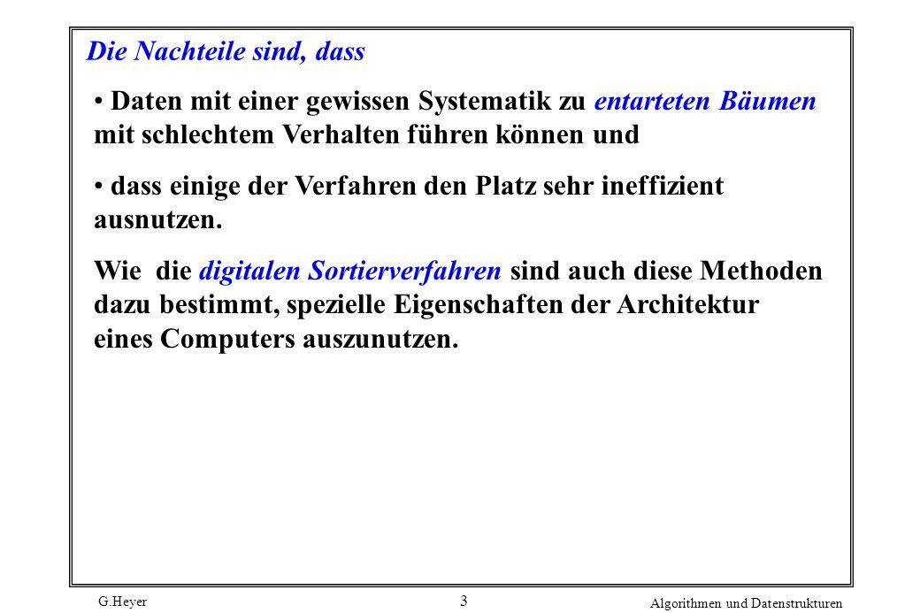 G.Heyer Algorithmen und Datenstrukturen 3 Die Nachteile sind, dass Daten mit einer gewissen Systematik zu entarteten Bäumen mit schlechtem Verhalten f