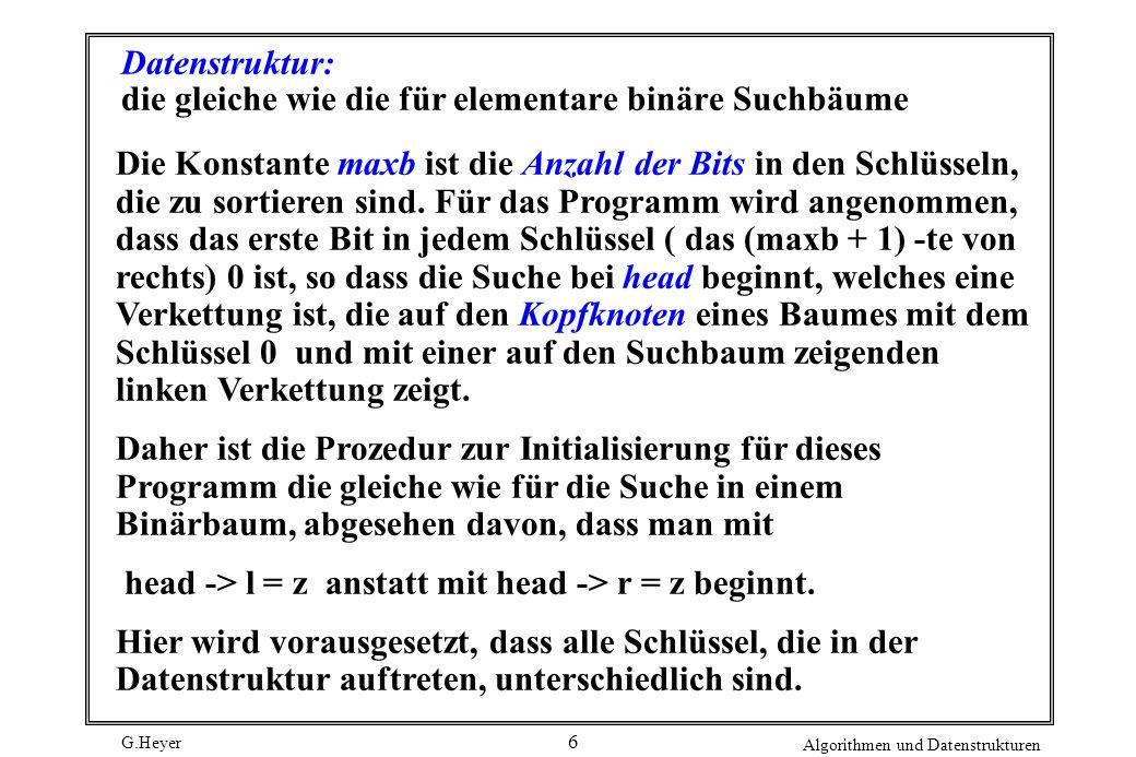 G.Heyer Algorithmen und Datenstrukturen 6 Datenstruktur: die gleiche wie die für elementare binäre Suchbäume Die Konstante maxb ist die Anzahl der Bit