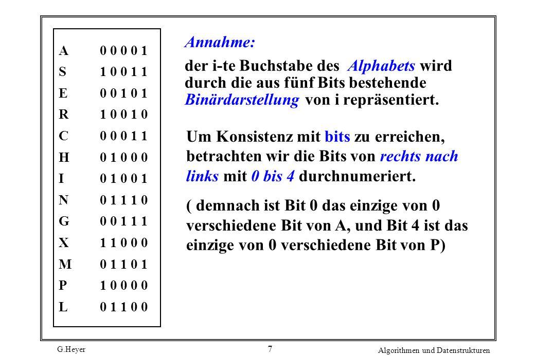 G.Heyer Algorithmen und Datenstrukturen 7 Annahme: der i-te Buchstabe des Alphabets wird durch die aus fünf Bits bestehende Binärdarstellung von i rep