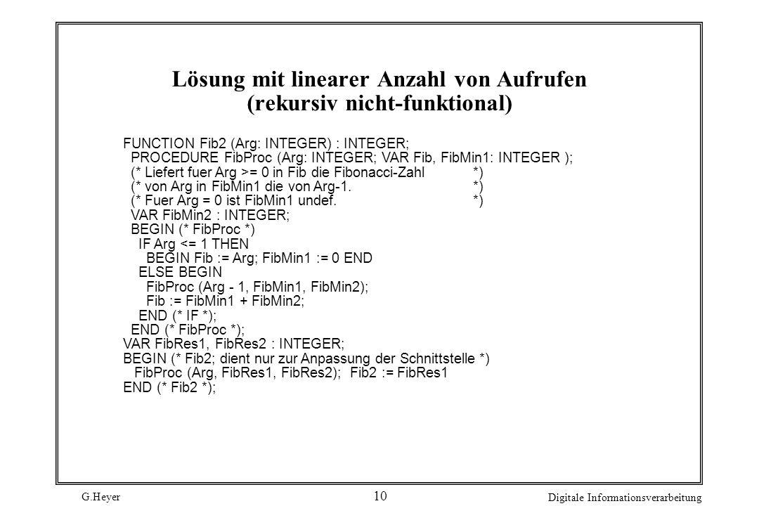 G.Heyer Digitale Informationsverarbeitung 10 Lösung mit linearer Anzahl von Aufrufen (rekursiv nicht-funktional) FUNCTION Fib2 (Arg: INTEGER) : INTEGE