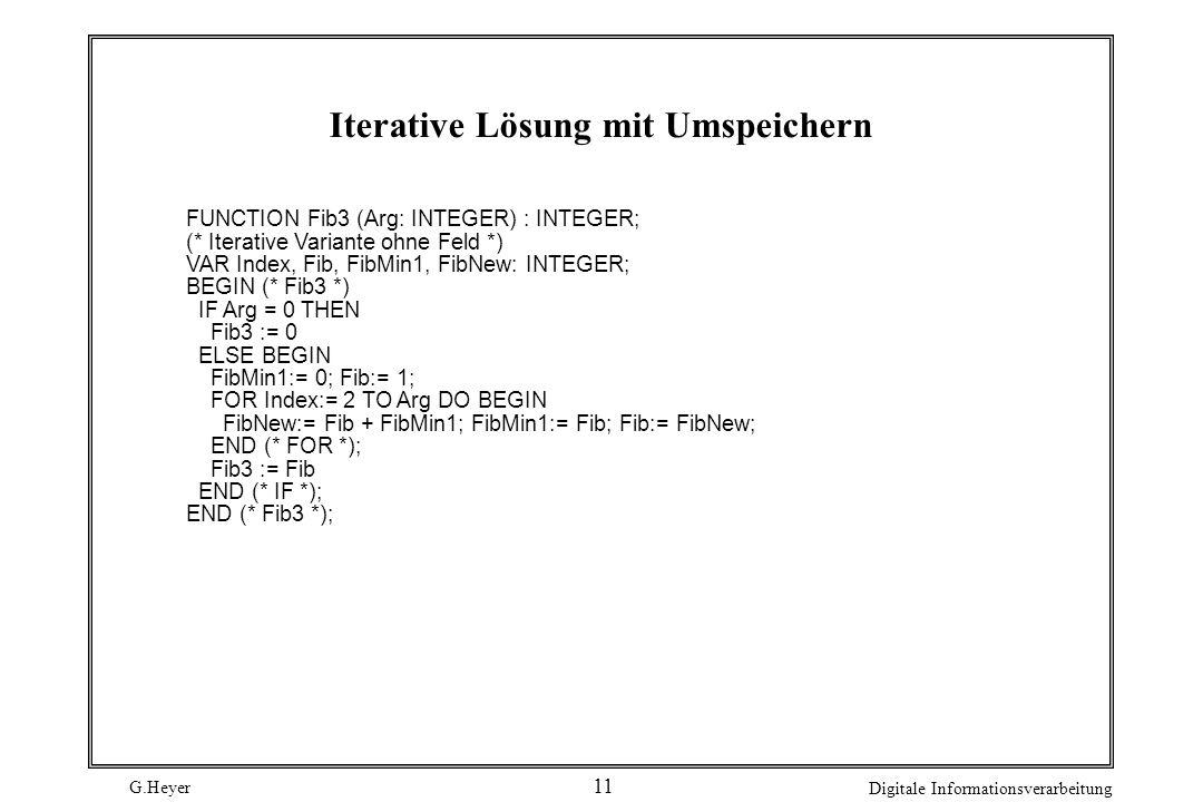 G.Heyer Digitale Informationsverarbeitung 11 Iterative Lösung mit Umspeichern FUNCTION Fib3 (Arg: INTEGER) : INTEGER; (* Iterative Variante ohne Feld