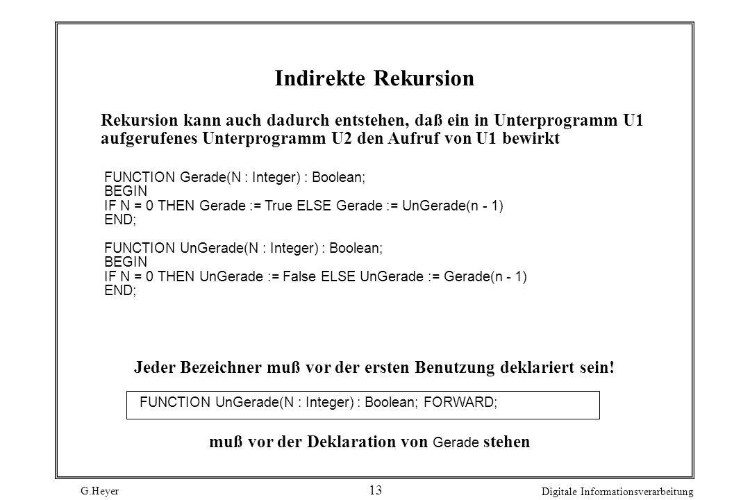 G.Heyer Digitale Informationsverarbeitung 13 Indirekte Rekursion Rekursion kann auch dadurch entstehen, daß ein in Unterprogramm U1 aufgerufenes Unter