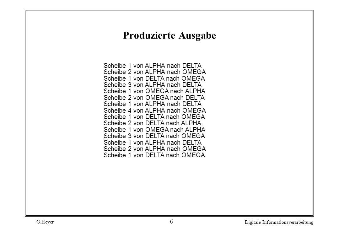 G.Heyer Digitale Informationsverarbeitung 6 Produzierte Ausgabe Scheibe 1 von ALPHA nach DELTA Scheibe 2 von ALPHA nach OMEGA Scheibe 1 von DELTA nach