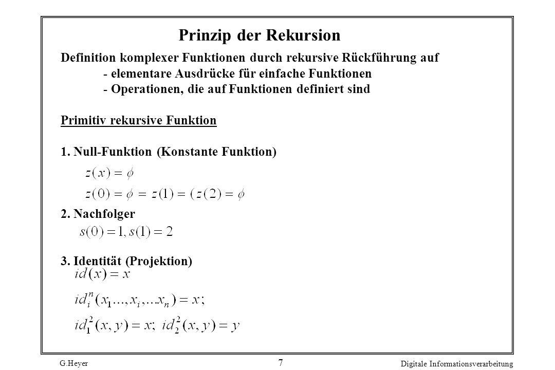 G.Heyer Digitale Informationsverarbeitung 7 Definition komplexer Funktionen durch rekursive Rückführung auf - elementare Ausdrücke für einfache Funkti